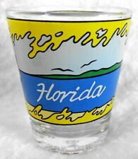 "Florida Shot Glass Palm Tree & Sail Boat Shooter 2-3/8"" Jigger"