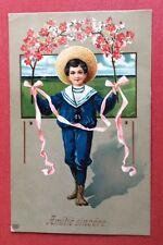 CPA. 1908. Petit Garçon en Costume Marin. Branches Fleuries. Amitié