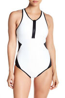 Tart Collections Hadley Rib One-Piece Swimsuit Black & White Size M Medium