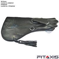 "Falconry  Nubuck-Leather Pets Eagle Shiny Black Gloves 16"" Long Cuff A+"