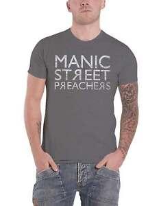 Manic Street Preachers T Shirt Reversed Band Logo new Official Mens Grey