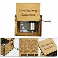 GT- You Are My Sunshine Music Box Engraved Hand Crank Wooden Music Box Kids Toys