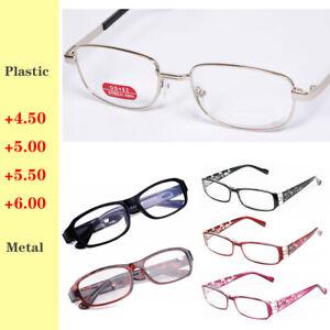 Reading Glasses Plastic / Metal Highly Presbyopic Eyewear +4.50 5.00 5.50 6.00