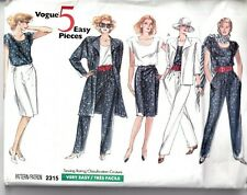 Vogue Sewing Pattern 2315Jacket Trousers Skirt 5 EASY Pieces US 8-12 80s UNCUT