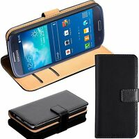 BLACK REAL GENUINE LEATHER WALLET CARD SLOT FLIP CASE FOR SAMSUNG PHONE UK POST