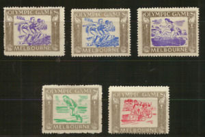 MELBOURNE - Set of FIVE CINDERELLA MINT UNHINGED STAMPS - 1956 OLYMPIC GAMES