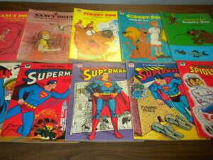 10 SUPERMAN SPIDER-MAN BATMAN SCOOBY-DOO NANCY DREW coloring books VINTAGE LOT