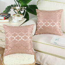 2Pcs Dusty Pink Cushion Covers Pillows Cases Accent Geometric Home Decor 16x16""
