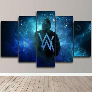 Alan Walker Framed 5 Piece Canvas Wall Art DJ Music AW Print Home Decor