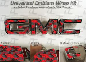 07-20  GMC Sierra Yukon RED Camo Front Grill Emblem Overlay decal WRAP