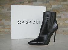 CASADEI 37 Stiefeletten Ankle Boots Heels Schuhe Lack schwarz neu ehem UVP 785 €