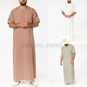 US STOCK Mens Muslim Clothing Short Sleeve Saudi Jubba Arab Kaftan Long Robe To
