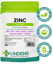 Zinc 100 50mg Tablets, 1 a day Acne Sexual Health Immune System Lindens