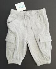 Bnwt Baby Boy 000 Mix Brand Light Grey Cargo Pockets Fleece Track Pants