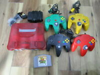 Nintendo 64 Console Clear Red w/4controller adpter Banjo N64 Japan B654
