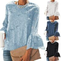 Women Floral Lace Long Sleeve V Neck Chiffon Flared Tunic Blouse Shirt Top