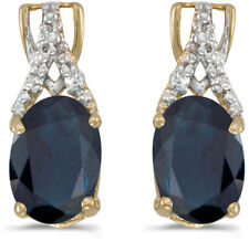 14k Yellow Gold Oval Sapphire And Diamond Earrings (CM-E2620X-09)