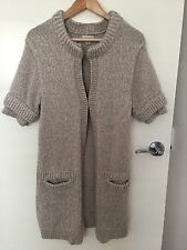 WITCHERY Ecru Tan Beige Silver Cream Wool Knit Layer Long Coat AU 10 M Cardigan