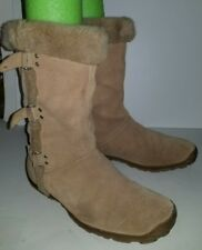 MIA camel tan suede pull on mid calf winter snow boots. 8.5