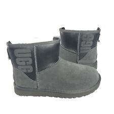 UGG CLASSIC MINI UGG RUBBER 1100210 SIZE 9 AUTHENTIC EXCLUSIVE STYLE GREY/BLACK