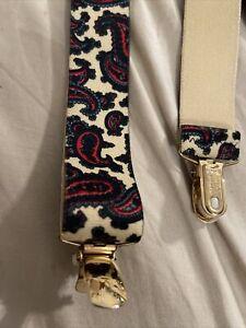 "Vintage Suspenders Paisley CAS W Germany Crossback Elastic 11/4""  Metal Clip Adj"