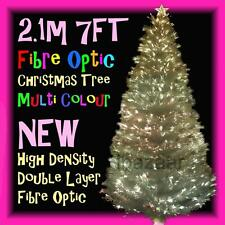 PREMIUM 2.1m 7FT 210cm DENSITY DOUBLE LAYER FIBRE OPTIC CHRISTMAS TREE (WHITE)