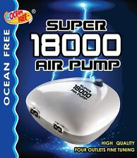 OCEAN FREE SUPER 18000 AQUARIUM 4-WAY AIR PUMP FISH TANK AIRPUMP VARIABLE FLOW