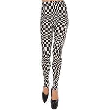 Black and White Check Pattern Leggings Small GOTH Club PUNK Emo RAVE Super Soft