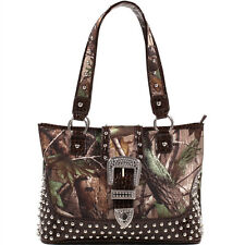 New Realtree Women Camouflage Leather Shoulder Bag Satchel Studded Tote Purse