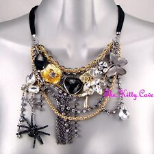 Silver Gold Gothic Punk Rock Retro Charms Feature Necklace W/ Swarovski Crystals
