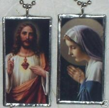 SACRED HEART JESUS / VIRGIN MARY   ART  GLASS PENDANT