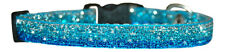 "shaded turquoise blue sparkle chihuahua dog/pup collar 7""-10"""