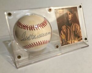 Ted Williams autographed baseball in display case with card.