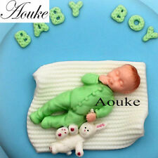 3D Silicone Baby Boy with bunny Cake Chocolate Candy Mould Decoupage - M56