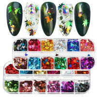 12 Grid Boxed Holographic DIY Nail Art Glitter Sequins Autumn Maple Leaf Decor