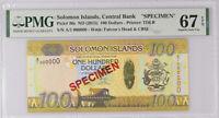 Solomon Islands 100 Dollars nd 2015 P 36 Specimen Superb Gem UNC PMG 67 EPQ Top