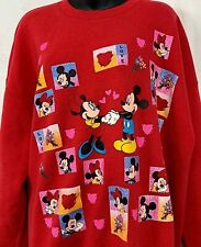 Vintage 90s Mickey Mouse Minnie Sweatshirt Crewneck Love Graphic Heart Red 2XL