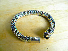 10MM CLASSIC THICK JOHN HARDY WOVEN CABLE STERLING & 18K DOT BRACELET 66.4 grams