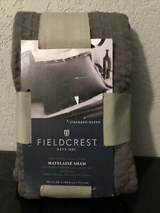 Fieldcrest Gray Quilted Diamond  Matelasse Pillow Sham  Standard/queen100 Cotton