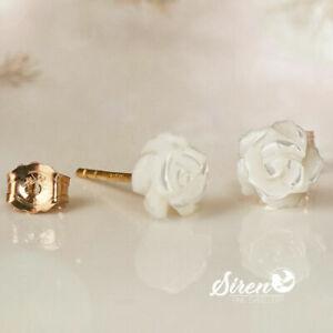 Ohrstecker Rose Perlmutt Blume 6 mm ygf 14k Gold 585 Ohrringe
