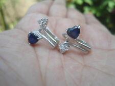 Natural Blue SAPPHIRE Heart Cut & White CZ 925 Silver EARRINGS