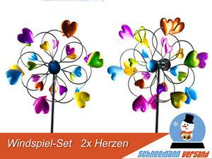 Set 2x Windrad Herz 33/126 cm Gartenstecker Windspiel Gartendeko Blumenstecker