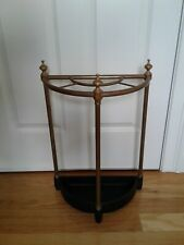 ANTIQUE VINTAGE BRASS UMBRELLA STICK CANE STAND  CAST IRON DRIP PAN