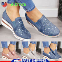 US Womens Wedges Loafers Pumps Ladies Summer Platform Slip On Casual Shoes Size