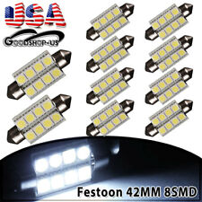 10x Cool White 42mm 5050 8-SMD Festoon LED Dome Map License Interior Light Bulbs