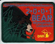 2001 MICHIGAN DNR SUCCESSFUL BEAR HUNTER PATCH -DEER-TURKEY-ELK-MOOSE-FISHING