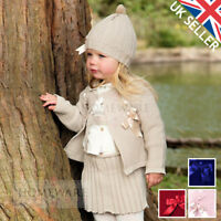 GIRLS BABY SPANISH KNITTED SET BOWS CARDIGAN BLOUSE SKIRT HAT DESIGNER 6M-5Y NEW