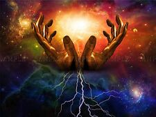 HANDS SURREAL LIGHTENING GLAXY SPACE LIGHT SPACE CELESTIAL PRINT POSTER BMP918A