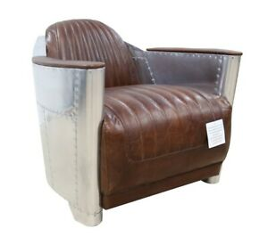 Aviator Spitfire chair in Brown Vintage Retro Real Leather Fast Del 7-14 Days