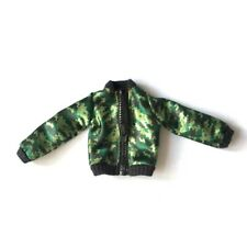 """Unboxed Creatable World jacket dc-414 green satin camo top real zip fit 11"""" doll"""